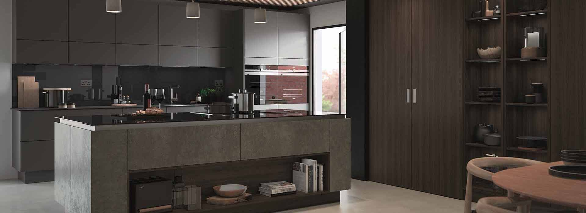 Lastra & Futura shown in Springfield Dark Oak, Dust Grey Supermatt & Oxidised Emerald medium large